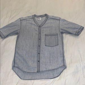 Men's Gray Denim Baseball Jersey Style Shirt